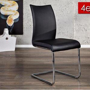 4er Set Design Freischwinger Stuhl SUAVE schwarz mit Chromgestell
