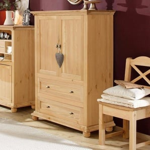 Home affaire Wäscheschrank »Irena« aus Massivholz, mit zwei Türen und zwei Schubladen, Breite 99 cm, beige