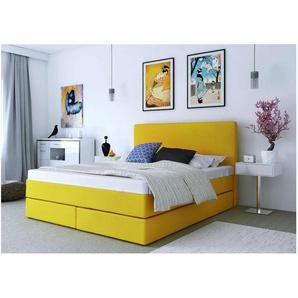 ELESS Keigo Boxspringbett Continentalbett Amerikanisches Bett Doppelbett Ehebett Gästebett Gelb 140x200 cm
