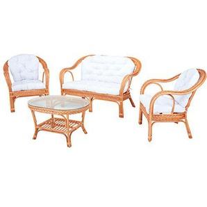 Rotin Design Sitzgruppe Edelweiss Cognac