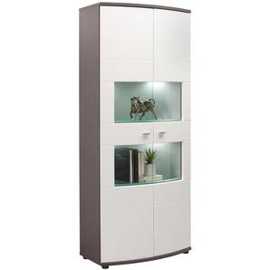 Xora: Vitrine, Glas, Holzwerkstoff, Graphit, Weiß, B/H/T 80 193 42