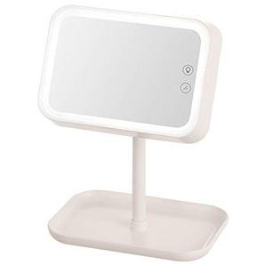 Darcyk Eitelkeitsspiegel-Desktop führte geführten quadratischen tragbaren Spiegel-Kosmetikspiegel-Weiß_21 * 15 * 28