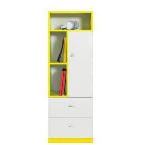 Jugendzimmer - Schrank Geel 28, Weiß / Gelb - Abmessungen: 135 x 45 x 40 cm (H x B x T)