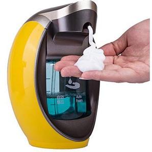 su-luoyu Automatischer Seifenspender, Infrarot Smart Sensor Seifenspender mit Wasserdichter Basis, 480ml Fassungsvermögen Duschgel, Shampoo, Seife Champagner schaumseifenspender (C: Orange)