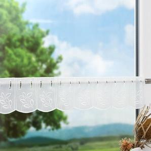Scheibengardine von LYSEL® Blaettchen (Bx H) 112cm * 23cm weiß