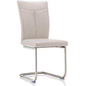 Freischwinger Sessel in Creme Weiß Echtleder (2er Set)