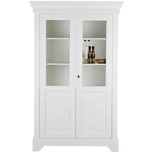 Wohnzimmervitrinenschrank in Weiß aus Kiefer abschließbar