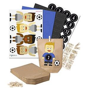 itenga DIY Fußball-Adventskalender Set zum Basteln (blau/schwarz)