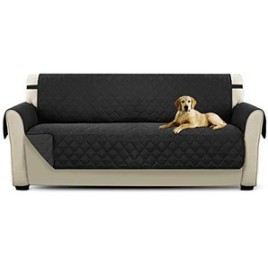 PETCUTE Luxus Gesteppte Stuhlabdeckung Sofabezug Anti-rutsch extra weich alle Größen Schwarz Dreisitzer
