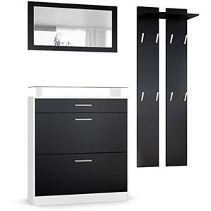 Garderobenset Garderobe Loret Mini, Korpus in Weiß matt / Front in Schwarz matt