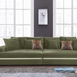 Nova Via Big Sofa, grün, Inkl. loser Zier- und Rückenkissen, hoher Sitzkomfort