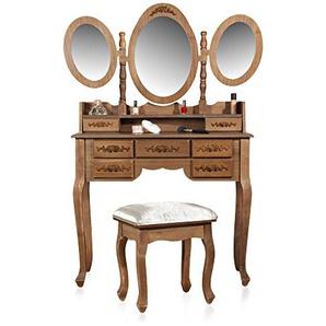 Melko Schminktisch mit DREI Spiegeln und Einem Hocker im Shabby Chic BZW. Vintage-Look mit viel Stauraum, 105 x 40 x 144,5 cm, braun