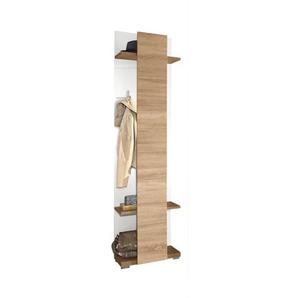 Casavanti Garderobenpaneel MANHATTAN Weiß Hochglanz/Eiche sägerau ca. 50 x 207 x 31 cm