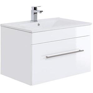 Posseik Badmöbelserie VIVA 75 Waschplatz, Weiß Hochglanz + Weiß, Waschtisch 75,5cm breit Keramik Waschbecken