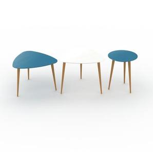 Couchtisch Blau - Eleganter Sofatisch: Beste Qualität, einzigartiges Design - 59/59/40 x 44/50/50 x 61/61/40 cm, Konfigurator