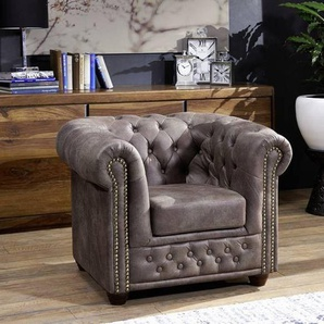 Sessel Chesterfield 94x86x72 dunkelbraun OXFORD
