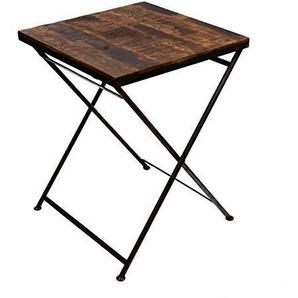 Brillibrum Design großer Klapptisch aus Echtholz klappbarer Esstisch massives Metallgestell platzsparend Gartentisch Balkontisch Tischplatte Holz stabil Vintage Rustikal