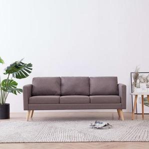3-Sitzer-Sofa Stoff Taupe - VIDAXL