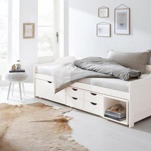 Home affaire Multimediabett »Nils«, mit 5 Schubladen und einem Fach, Liegefläche: 90/200, weiß