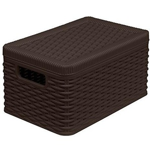 Ondis24 Edle Utensilienbox für Das Bad Oder Den Wohnraum, Aufbewahrungsbox Lagerbox Allzweckbox Rattan Optik Stapelbox Decora (S, Braun) aus Kunststoff, Sehr Gute Verarbeitung