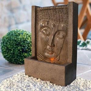 HEISSNER Set: Gartenbrunnen »BUDDHA LED«, BxTxH: 23x12x38 cm, bronzefarben