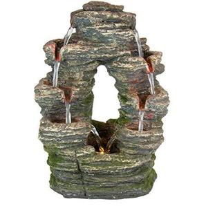 Home, Pets & Garden Wasserbrunnen aus Polyresin, Divided Stone, Zimmerbrunnen mit LED-Beleuchtung, Dekoration, Luftbefeuchter, ca. 24,5x18x35cm