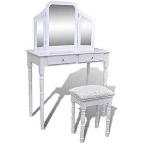 Luckyfu Frisierkommode mit Spiegel und Hocker 3-in-1 2 Schubladen weiß Material: langlebiges Holz + MDF + Toletta.Schminktisch modern