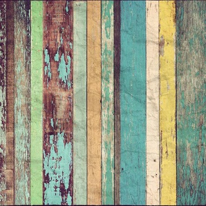 Vliestapete »Colored Wooden Wall«, 366x254cm, 8-teilig