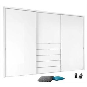 Kleiderschrank Dekor Weiß/Alpinweißglas ca. 298 x 240 x 68 cm