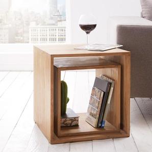 Cube Teva 50x50 cm Teakholz Natur 2er Set Massivholz, Regalwürfel