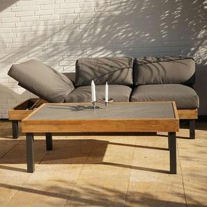 Ploß Skagen Loungeset 2-tlg. Tisch 125x65cm Anthrazit/Teak