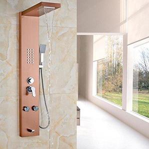 AllureFeng Rose Golden Edelstahl Niederschlag Set Massage System Dusche Duschpaneel mit Hand Dusche Tower Duschsäule
