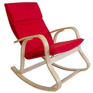 Homestyle4u 542, Schaukelstuhl Schwingsessel Sessel Relaxstuhl, Polster Rot Gestell Holz Natur