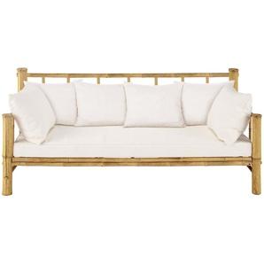 3-Sitzer Gartenpolsterbank aus Bambus Robinson