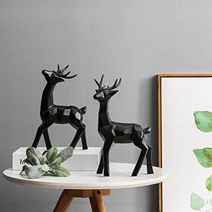 Dekofiguren im Origami-Design Skulptur Statue Porzellan stehende Hirsche 2-er Set
