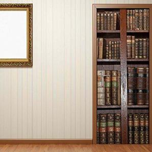 Türaufkleber alte Bücher Buch Regal antik Bibliothek Tür Bild Türposter Türfolie Türtapete Poster Aufkleber 15A023, Türgrösse:80cmx200cm