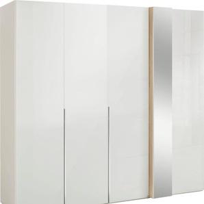 Drehtürenschrank in Weißglas mit Dekorfront und Spiegel, Breite 225 cm, »fontana«, FSC®-zertifiziert, set one by Musterring
