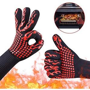 LWYJ Barbecue Hohe Temperatur 932ºF (500ºC) -1472ºF (800ºC) Feuerfeste Mikrowelle Isolierung Silikon Anti-Rutsch-Flammschutzmittel Handschuhe in Kochen, Dutch Oven,Grillen,Kamin-Tools(Red)