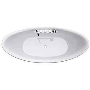 Freistehende Badewanne 180x80cm Oval inkl. Armatur, Farbe:Weiß, Material:Sanitäracryl V603 Mai & Mai