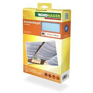 Windhager Sonnensegel für Seilspanntechnik Sonnenschutz Segel 270 x 140 cm, ideal für Pergola oder Wintergarten, CYAN-BLAU 10881