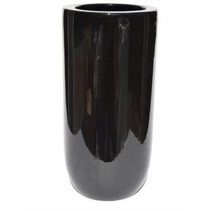 RATTERMANN konische Vase aus Keramik H 24 /Ø 17 BLACKY Schwarz glänzend