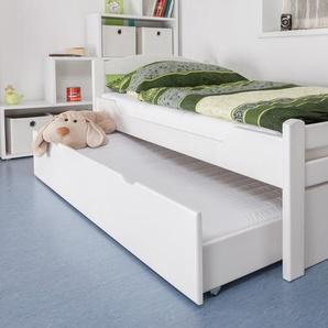 Einzelbett / Gästebett Easy Premium Line K1/2h inkl. 2. Liegeplatz und 2 Abdeckblenden, 90 x 200 cm Buche Vollholz massiv weiß lackiert
