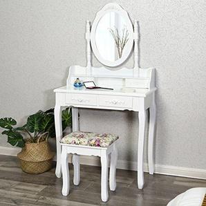 Songmics RDT77W Schminktisch 4 Schubladen und Spiegel, Hocker, Holz, weiß, 75 x 40 x 145 cm