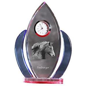 ArtDog Ltd. Freiberger, Kristall-Uhr, Form der Flügel mit dem Bild eines Pferdes