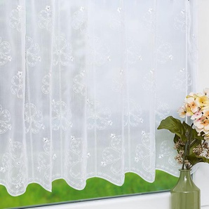 Scheibengardine aus Plauener Spitze Flower (Bx H) 48cm * 60cm weiß