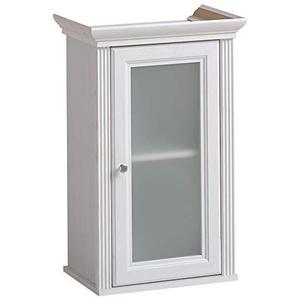 Lomadox Vintage Landhaus Badezimmer Unterschrank ? Andersen Pine weiß ? 1 Glastür 1 Einlegeboden ? BxHxT 48x76x32 cm
