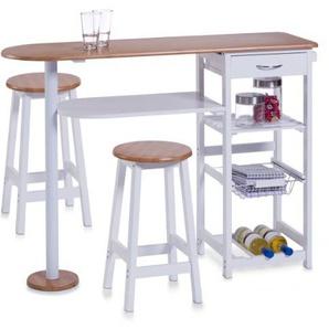 Zeller 13776 Küchenbar mit 2 Hockern, Mitteldichte Holzfaserplatte (MDF), Tisch: 118 x 38 x 89 cm, Hocker: 29 x 29 x 54 cm, weiß/Bamboo-Dekor
