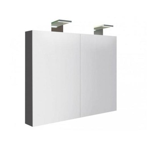 Bad Spiegelschrank Inno 80 cm 2 Doppelspiegeltüren Anthrazit glänzend mit Soft-Close, Unterbeleuchtung - KAME