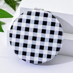 Bmstjk Schminkspiegel, Schwarz-Weiß-Element Tragbarer beidseitiger Klappspiegel, Fashion Simple Black and White Plaid Taschenspiegel Spiegel