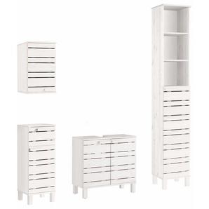 Home affaire Badmöbel-Set, 4er Set, FSC®-zertifiziert, weiß, Material Massivholz »Jossy«